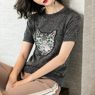 新款时尚2019夏季新款小清新钉珠图案黑色弹力针织短袖T恤休闲上衣