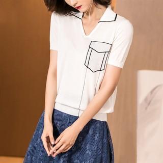 新款时尚2019春夏新款设计感假口袋弹力冰丝针织衫休闲短袖T恤女