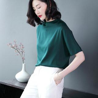 新款时尚真丝t恤女短袖夏装2018新款纯色宽松大码半袖时尚黑色桑蚕丝上衣