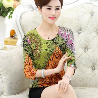 新款时尚真丝T恤女春秋针织印花修身显瘦圆领七分袖桑蚕丝上衣打底衫
