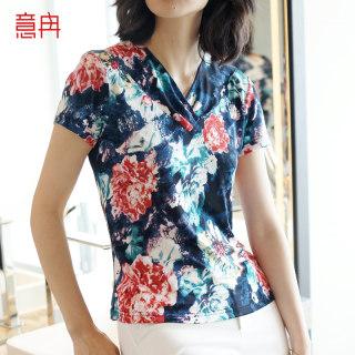 新款时尚夏季短款真丝T恤女装V领短袖宽松大码桑蚕丝上衣女印花半袖打底衫