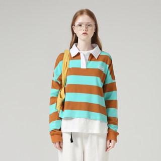 新款时尚宽松长袖POLO领落肩袖撞色印花条纹T恤女