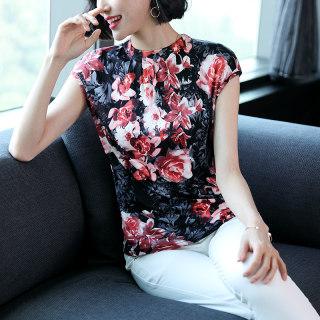 新款时尚真丝针织t恤女2018新款夏季修身百搭气质丝绸韩版桑蚕丝短袖上衣