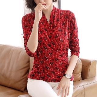 新款时尚羊毛长袖T恤女2019新款秋冬韩版修身打底双层针织衫毛衣
