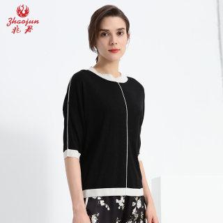 新款时尚2019春夏新款拼色时尚宽松休闲圆领套衫 七分袖真丝小衫上衣