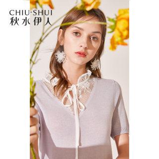 新款时尚上衣2019夏装新款女装蕾丝系带短袖薄款纯色针织T恤衫