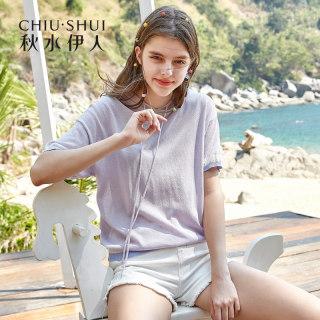 新款时尚T恤2019夏装新款女装连帽撞色女ins宽松薄款针织短袖上衣