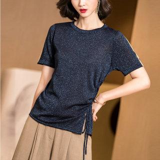 新款时尚2019春夏新款简约百搭侧绑带收腰显瘦弹力针织衫短袖T恤女