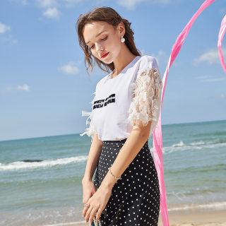 新款时尚2019秋季新款字母绣花钉珠白色T恤羽毛蕾丝中袖套头上衣女