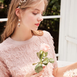 新款时尚2019秋季新款圆领流苏提花半袖上衣修身亮丝针织T恤女粉色