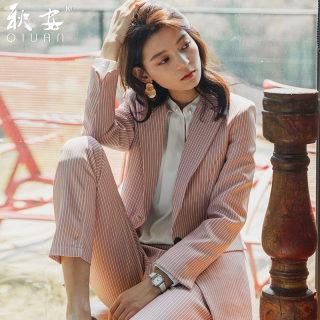 秋安西服套装英伦风职业装女2019新款小西装粉红色韩版气质工作服秋冬