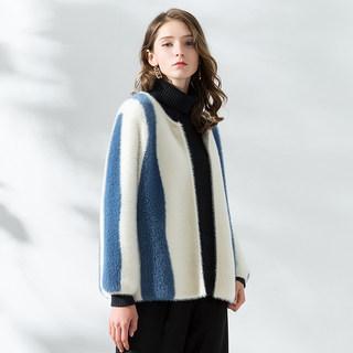 新款秋冬女装2019秋季新款貂绒外套小披肩毛茸茸短款皮草毛针织小开衫