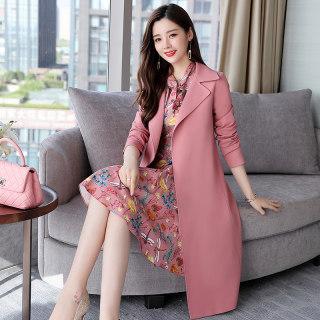 新款秋冬女装时尚套装裙子春季新款女装韩版风衣碎花连衣裙中休闲风衣两件套套装