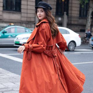 新款风衣新款秋冬女装收腰中长款外套翻领薄款春装修身上衣