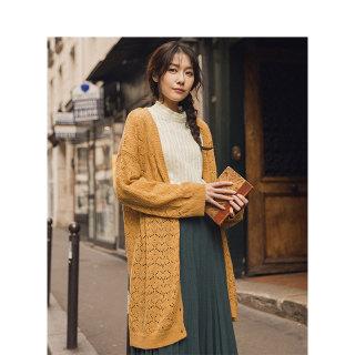 秋季森系镂空针织外套女开衫毛衣女宽松慵懒风中长款薄款