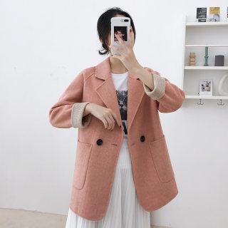 新款秋冬女装2019秋季新款女士中长款双面羊毛大衣气质修身羊毛呢外套