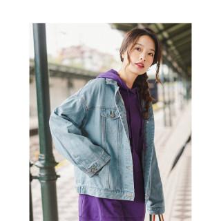 新款秋冬女装短外套秋装纯棉长袖纯色复古洗水落肩袖宽松牛仔衣