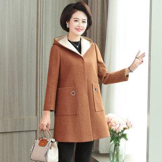 新款秋冬女装妈妈冬装毛呢外套中老年呢子大衣中年宽松气质上衣