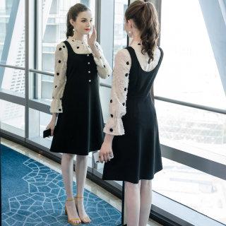 2019秋季新款大码女装200斤胖妹妹时尚背心印花套装连衣裙