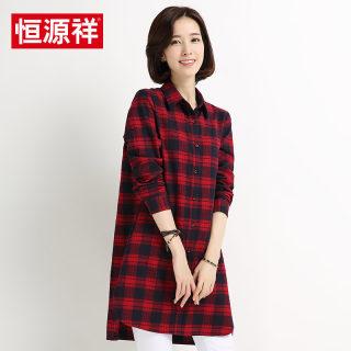 新款秋冬女装秋冬新款中长款格子衬衫女长袖外套女