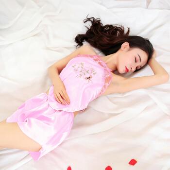 情趣内衣肚兜女士古典成人诱惑制服套装玩性感露乳大码睡衣sm骚透明玫红蝴蝶花款蕾丝刺绣肚兜 均码