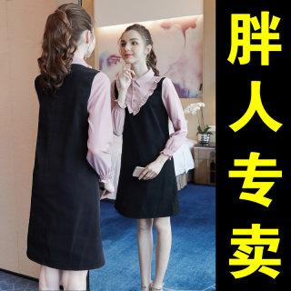 新款秋冬时尚大码女装秋装2019新款胖mm法式洋气显瘦遮肚减龄公主的连衣裙
