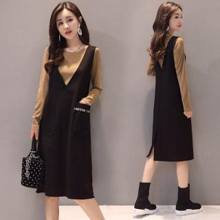 2019新款女装春装时尚气质中长款长袖连衣裙两件套背带裙套装