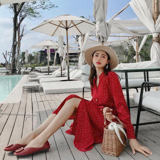 2019新款春装法国复古裙山本红色雪纺连衣裙女夏季超仙波点裙过膝长裙
