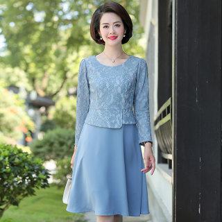 2019新款女装时尚气质假两件裙子蕾丝中长款连衣裙