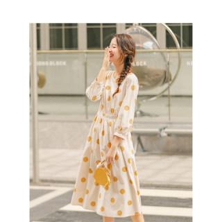 秋季文艺法式复古黄色波点连衣裙长裙系带收腰七分袖