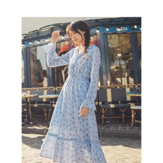 秋季文艺木耳边小清新蓝色碎花连衣裙仙女超仙甜美过膝