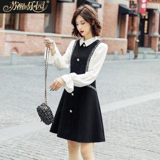 2019新款韩版时尚气质淑女黑色温柔风公主裙子