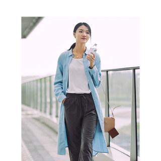 秋装新款棉质翻领衬衫式中长款外套长袖连衣裙女