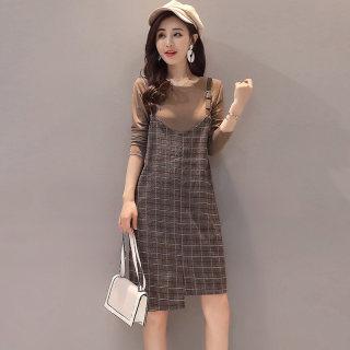 春秋新款时尚长袖连衣裙中长款韩版格子两件套裙子背带裙女