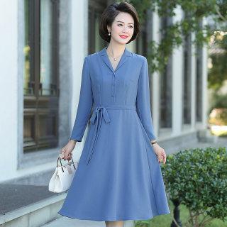 2019年新品女装中长款POLO领休闲大方长款连衣裙