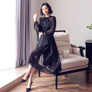 雪纺连衣裙女薄款2019流行女装新款春装黑色长袖波点夏天裙子