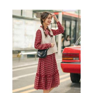 秋季复古格纹系带领针织毛衣背心马甲连衣裙两件套