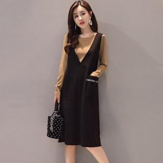 新款女装春秋时尚气质中长款长袖连衣裙两件套套装背带裙