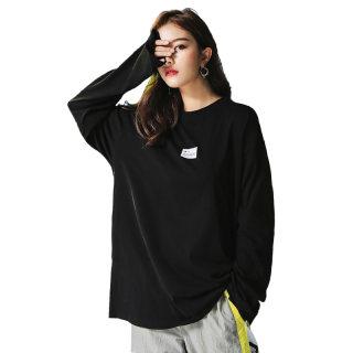 长袖T恤黑色女2019新款夏装学生宽松韩版百搭chic上衣嘻哈中长款