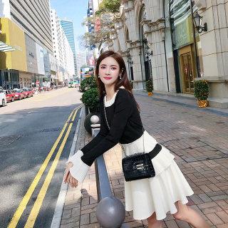 2019流行裙子法式复古裙山本蛋糕裙女秋季高腰a字裙显瘦黑色连衣裙女