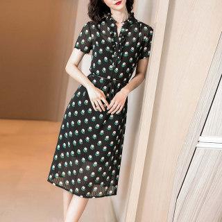 2019夏季新款很仙的气质印花裙子荷叶边收腰显瘦薄款连衣裙