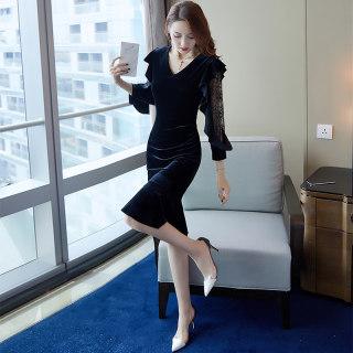 2019秋装新款女纯色V领蕾丝袖修身中款鱼尾连衣裙