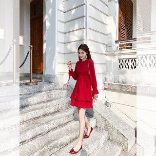 女秋装2019新款法国复古裙山本红色连衣裙女超仙雪纺裙小个子高腰a字裙女