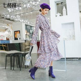雪纺碎花连衣裙2019新款韩版长袖高腰中长款荷叶边裙