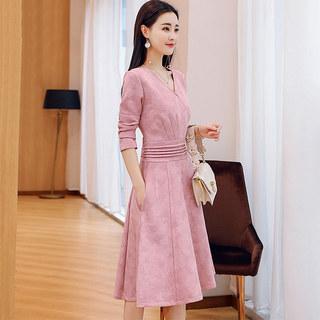 秋季女2019新款V领气质显瘦收腰中长款长袖连衣裙
