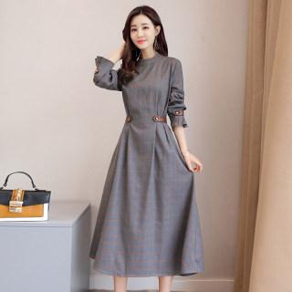 春秋新品裙子打底中长款潮流立体时尚格子唯美收腰气质连衣裙女