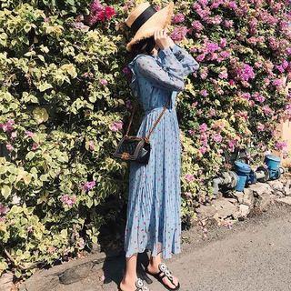 2019新款夏季很仙的法国小众碎花雪纺连衣裙女春韩版小清新过膝长裙子