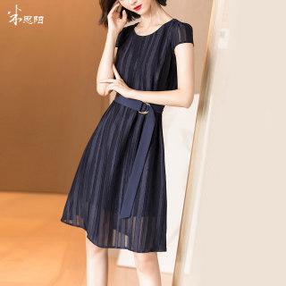 019夏季新款气质优雅复古条纹镂空收腰显瘦中长款连衣裙女
