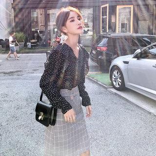 小香风轻熟套装裙2019新款早秋御姐洋气时尚港味格子半身裙两件套裙女