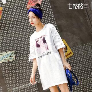 【港味复古chic印花】七格格T恤白色连衣裙2018秋装新款女装ins韩版短裙